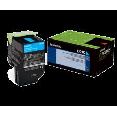 Lexmark 80C10C0 801C Cyan Return Program Toner Cartridge for Lexmark
